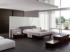 wohnideen für schlafzimmer minimalistisch schwarz weiß glanzoberfläche