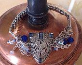 Flashy Bracelet Something Old Something New Something Blue Upcycled Art Deco Dress Clip Bracelet Silver Multi Chain Blue Sapphires Moonstone