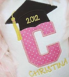 Kindergarten Preschool PreK Graduation Tshirt Tee Embroidered Applique Custom Made with Name Initial and Monogram Girl or Boy on Etsy, $25.00