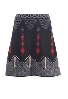 Jacquard Skirt Relief Motifs - Skirt | Ivko Woman