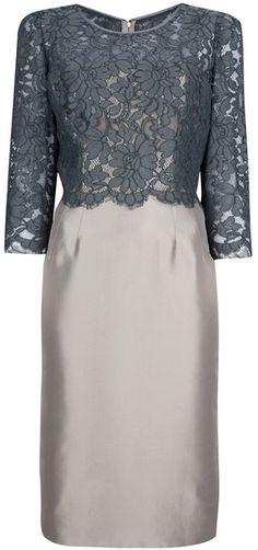grey dresses with sleeves | Dolce & Gabbana Bi-Tone Lace Dress - Lyst