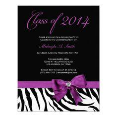 Purple Bow with Zebra stripes Class of 2014