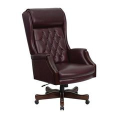 Offex High Back Traditional Tufted Burgundy Leather Executive Office Chair [OF-KC-C696TG-GG]