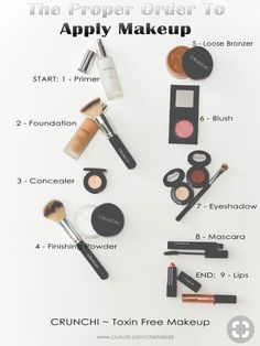 is a helpful guide to the proper order of putting on your make up. And, if Here is a helpful guide to the proper order of putting on your make up.Here is a helpful guide to the proper order of putting on your make up. Diy Beauty Makeup, Makeup 101, Makeup Guide, Free Makeup, Makeup Steps, Beauty Hacks, Makeup Tools, Makeup List, Kids Makeup