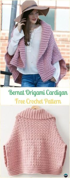 Crochet Bernat Origami Cardigan Free Pattern - Crochet Women Sweater Coat & Cardigan Free Patterns