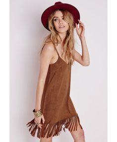 Faux Suede Tassle Hem Shift Cami Dress Tan - Dresses - Cami Dresses - Missguided