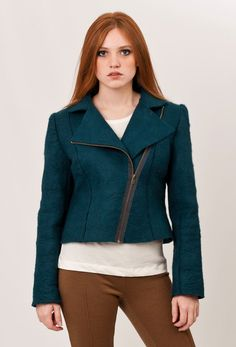 Cropped jacket, Pirate Green felted jacket, moto bike inspired, retro cool styling, perfect fit. $210.00, via Etsy.