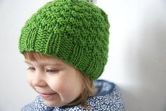 Green Hat With Pom Pom, Toddler Beanie, Knit