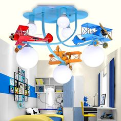 Vintage Iron aircraft Children toy modern Pendant lights Cartoon Room Creative Bar Kindergarten Decorative pendant lamps ZA