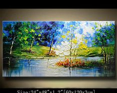 Modern Palette Knife Painting Abstract Landscape Trees Painting Original Acrylic on Canvas Artwork for Wall Decorations Home Decor by Chen