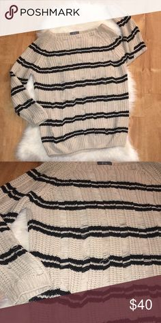 Evie sweater Tan and black striped! The sweater is frayed up and down...please see pictures so you know what I mean! Size 16 gently used condition evie Sweaters Crew & Scoop Necks