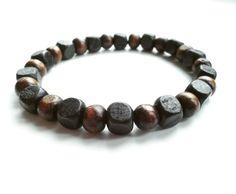 men's shamballa beaded stretch bracelet handmade jewelry gift WOOD beads #Handmade #Shamballa #FormalandCasual