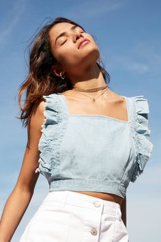 Slide View: 1: Cooperative Denim Frill Apron Top