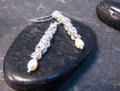 Items similar to Silver Chain and Fresh Water Pearl Earrings on Etsy Water Pearls, Fresh Water, Pearl Earrings, Personalized Items, Chain, Silver, Etsy, Water Beads, Pearl Studs