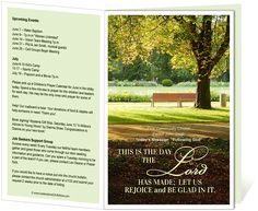 Church Bulletin Templates : Park Church Bulletin Template with bible verse from Psalm 118:24 This is the day the Lord has made; Let us rejoice and be glad in it