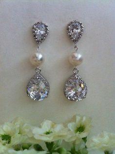 Cream White Genuine Freshwater Pearls and CZ Tear Drops and Stud Dangle Earrings, Bridal Earrings, Bridesmaids Earrings, Christmas Gift