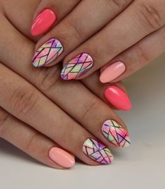 70 Simple Nail Design Ideas That Are Actually Easy May Nails, Hair And Nails, Cute Nails, Pretty Nails, Multicoloured Nails, Geometric Nail, Dream Nails, Nagel Gel, Fabulous Nails