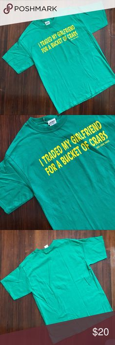 """▪️v i n t a g e : joe's crabshack t-shirt v i n t a g e  teal greenish """"I TRADED  MY GIRLFEIEND FOR A BUCKET OF CRABS"""" t-shirt from Joe's crab shack. I love this today. Totally rad shade of green and quite funny ;) great condition, no flaws. Soft. Size Large.  —- #shopping #gift #present #vintage #vtg #retro #clearance #sale #bogo #deal #joes #crabshack #seafood #dinner  #funny #bucketofcrabs #crabs Vintage Shirts Tees - Short Sleeve"""