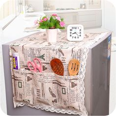 New Super Practical Fridge Lattice Refrigerator Dust Proof Cover Organize Storage Bag Dual-purpose Refrigerator Dust Cover FCZ Fabric Crafts, Sewing Crafts, Sewing Projects, Cheap Storage, Toy Storage, Refrigerator Covers, Smash Book Inspiration, Diy Pillow Covers, Diy Kitchen Storage