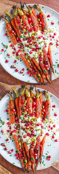 Maple Roasted Carrots in Tahini Sauce with Pomegranate and Pistachios - carrot, healthy, pistachios, pomegranate, recipes