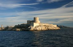 """Chateau d'If off the coast of southern France (Marseilles), built A., site found in Alexandre Dumas novel, """"The Count of Monte Cristo"""". I wanna go! French Chateau, French Countryside, Beautiful Buildings, Tower Bridge, So Little Time, Prison, Places To See, Monument Valley, World"""