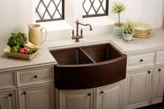 Minimalist Square Shaped Farm Sinks for Kitchens: Copper Farm Sink For Kitchen Antique Faucet Ivory Marble Countertop White Wall