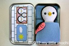 Felt penguin doll pattern made to fit in a mint tin