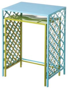 Green and Blue Metal Nested Side Tables Set of 2 transitional-side-tables-and-end-tables