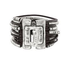 Silver and leather bracelet, by Spanish jewelery brand Uno de 50