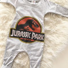 HANDMADE upcycle tshirt baby romper made by Caleb and Company - Jurassic park - UNISEX - Made in lots of sizes to suit baby or toddlers.