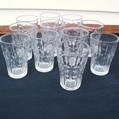 Vintage Juice Glasses Small Bar Glassware Thumbprint Mae West Shape 4 oz Tumblers EAPG Goblets Set of 11