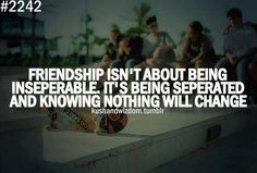 Life Quotes - Friendship isn't about being inseparable. It's being separated knowing nothing will change.