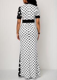 Image of Polka Dot Print Front Slit High Waist Dress African Print Dresses, African Wear, African Fashion Dresses, African Dress, Fashion Outfits, Preppy Outfits, Maxi Dress With Slit, Dot Dress, Polka Dot Print