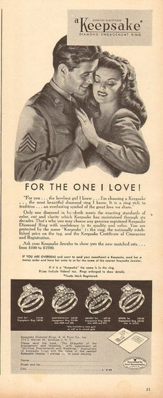 1945 WW2 era Ad KEEPSAKE Diamond Engagement Rings Art Soldier and Fianceé   Collectibles, Advertising, Jewelry & Watches   eBay!