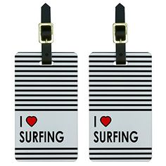 Graphics and More I Love Heart Surfing Luggage Tags Suitcase CarryOn ID Set of 2 ** You can find out more details at the link of the image.Note:It is affiliate link to Amazon.