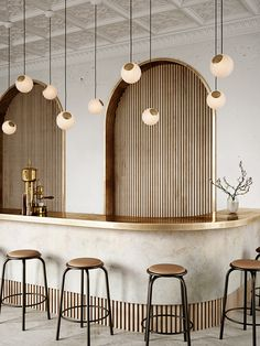 Bright Spot - Eye-catching glass and brass pendant by Nordic Tales Deco Restaurant, Rustic Restaurant, Restaurant Interior Design, Office Interior Design, Design Hotel, Rustic Wood Walls, Co Working, Hospitality Design, Cafe Design
