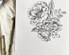 "Peonies Botanical 8.5"" x 11"" Floral Pen & Ink Hand Drawn Illustration"