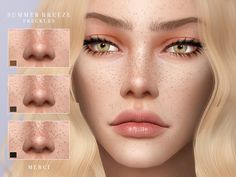 The Sims 4 Summer Breeze -Freckles- Sims 4 Mods, Sims 4 Body Mods, Sims 4 Game Mods, Sims 3, Sims Four, Sims 4 Cc Eyes, 3 4 Face, The Sims 4 Skin, The Sims 4 Cabelos