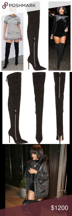 "NIB Gianvito Ross Black Thigh High Boots, SZ 38 As seen on JLo and Rihanna!!!!! Gianvito Rossi black suede over-the-knee boot has a pointed toe, stiletto heel, and exposed silvertone zippers. 100mm heel, 24.5""/62cm shaft, 15.5""/39cm circumference (approximately).  Suede-covered stiletto heel. Tonal topstitching. Silvertone hardware.Exposed side and back zip closures.Leather sole. Made in Italy. gianvito rossi Shoes Heeled Boots"