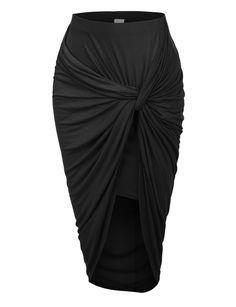 LE3NO Womens Asymmetrical Banded Waist Wrap Cut Out Hi Low Maxi Skirt