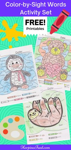 Free Printables! Sight Words Coloring Pages for Kindergarten, Color-by-Sight Words Activity Set