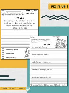 Fix It Up Sentences! These are great for helping students to improve awareness and accuracy of grammar, capitalization, and punctuation. The paragraph option is perfect for second graders, and the sentence option is excellent for first graders who are just starting school!⁣ .⁣ .⁣ .⁣ . #teachingbiilfizzcend ⁣ #teachingbiilfizzcendproducts⁣ #firstgrade ⁣ #secondgrade⁣ #grammar  #learnenglish #englishlanguage #esl⁣ #teacherspayteachers⁣ #iteachfirst ⁣ #backtoschool First Grade Writing, Teaching First Grade, First Grade Math, Homeschool Kindergarten, Kindergarten Writing, English Study, Learn English, Starting School, Common Core Reading