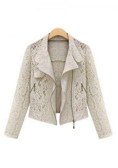 Women's lace hollow out lapel long sleeve zipper fly slim fit short outwear