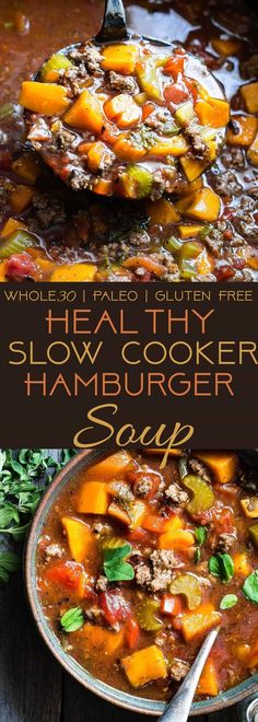 Paleo Slow Cooker Hamburger Soup - This easy, healthy hamburger soup is made . - Paleo Slow Cooker Hamburger Soup – This easy, healthy hamburger soup is made in the slow cooke - Slow Cooker Hamburger Soup, Healthy Hamburger, Hamburger Gravy, Healthy Gluten Free Recipes, Healthy Dinner Recipes, Paleo Crockpot Recipes, Keto Recipes, Gluten Free Recipes Slow Cooker, Gluten Free Soups