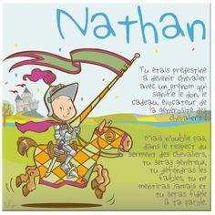 Tableau chevalier personnalisé autour du prénom de l'enfant, et reprenant 4 des vraies règles du code de la chevalerie. Idéal pour un anniversaire.