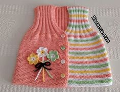 Baby Booties Knitting Pattern, Cable Knitting Patterns, Crochet Baby Dress Pattern, Knit Baby Dress, Easy Knitting, Crochet Baby Sweaters, Crochet Baby Clothes, Hood Pattern, Baby Coat