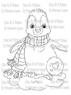 Cute As A Button Digi Stamps    Dressed for the Holidays! Christmas Happy Penguin digi stamp. Hope you enjoy her. This is for the black and