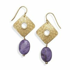 Gold Plated Purple Agate Fashion Earrings BlingLtd. $19.99. Gold plated base metal and 11mm x 15mm oval purple agate fashion drop earrings. This item contains nickel free and lead free base metal.. The earrings hang approximately 51mm