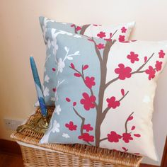Pillow cushion designer fabric in duck egg blue by PillowsandTotes, $34.00