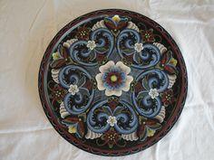 Norwegian Rosemaling: Black Plate (Rogaland Style)- Custom Order